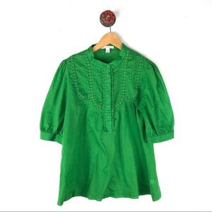 Banana republic L blouse green embroidered lace